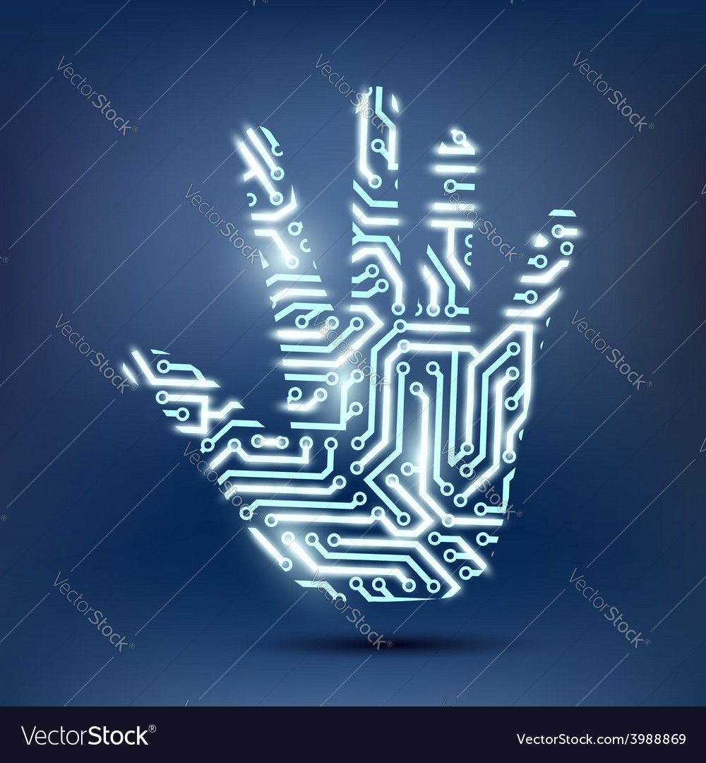 Human hand in the form of a computer chip vector