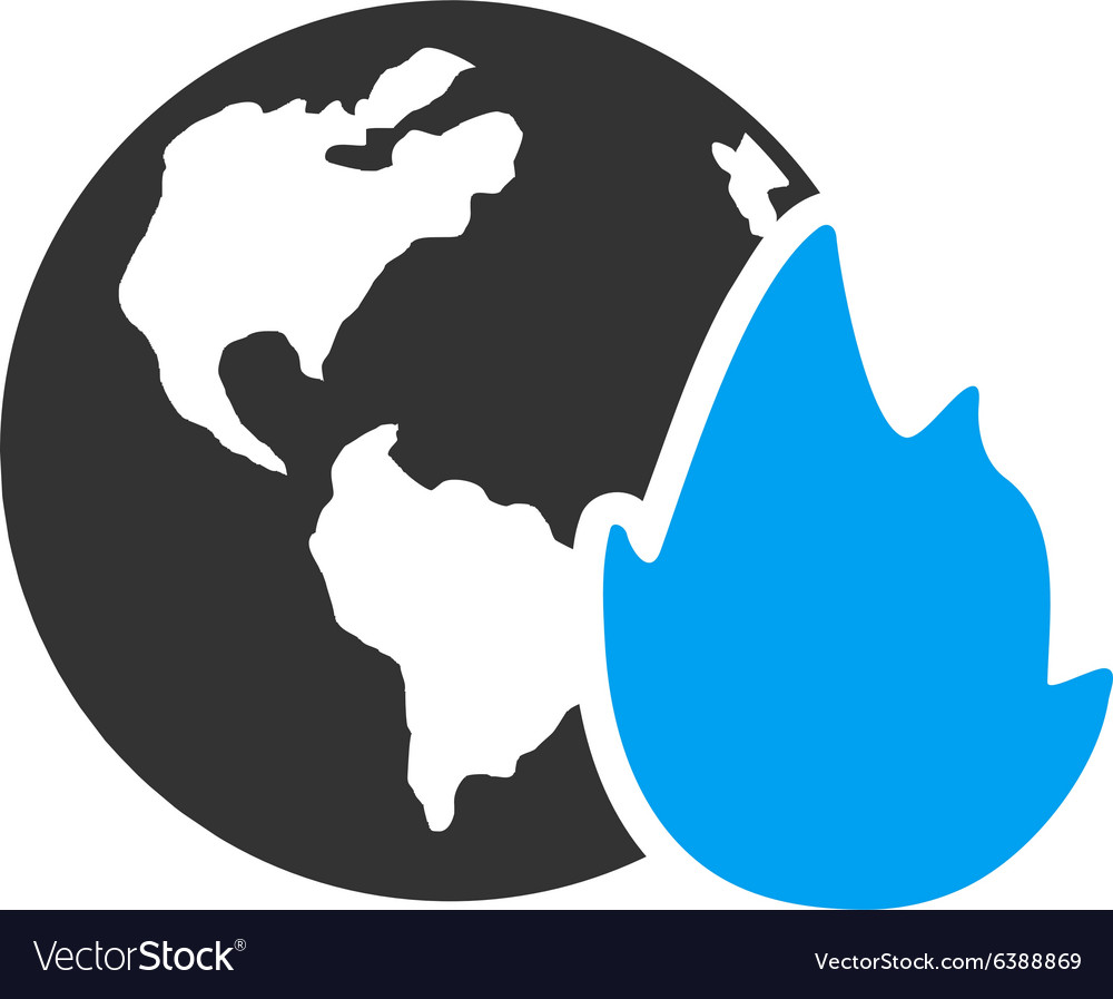 Planet flame icon vector