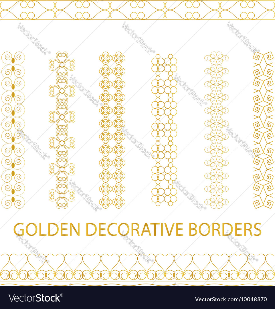 Golden outline borders vector