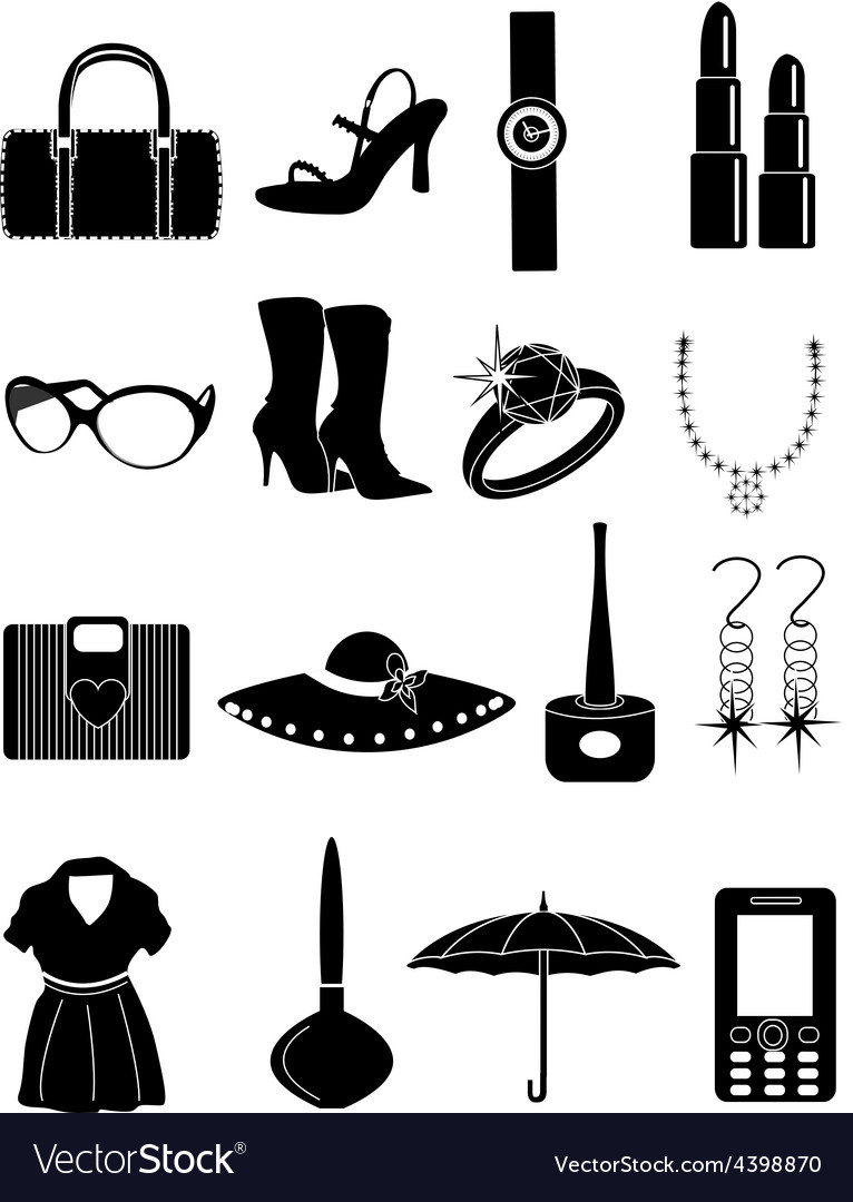 Ladies accessories icons set vector