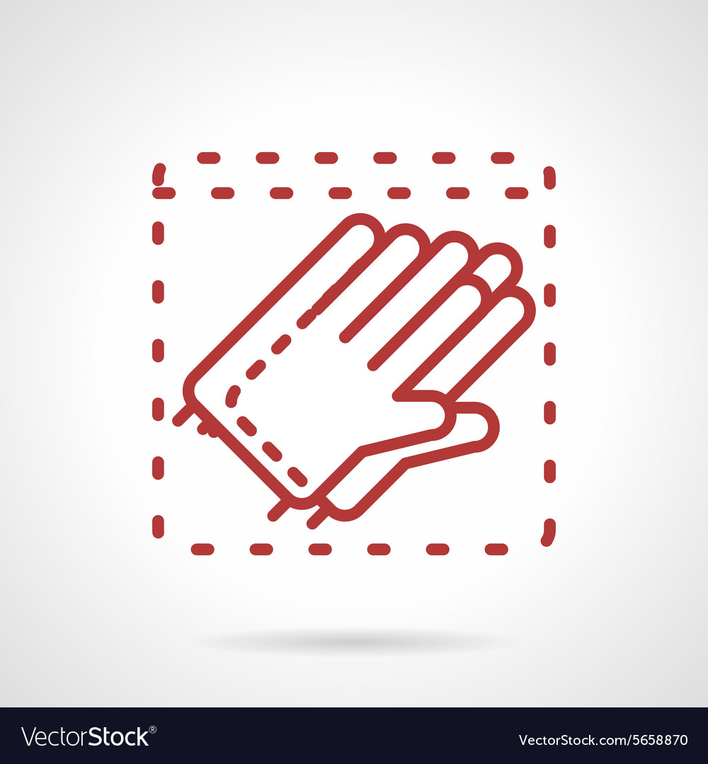Sterile gloves red line icon vector