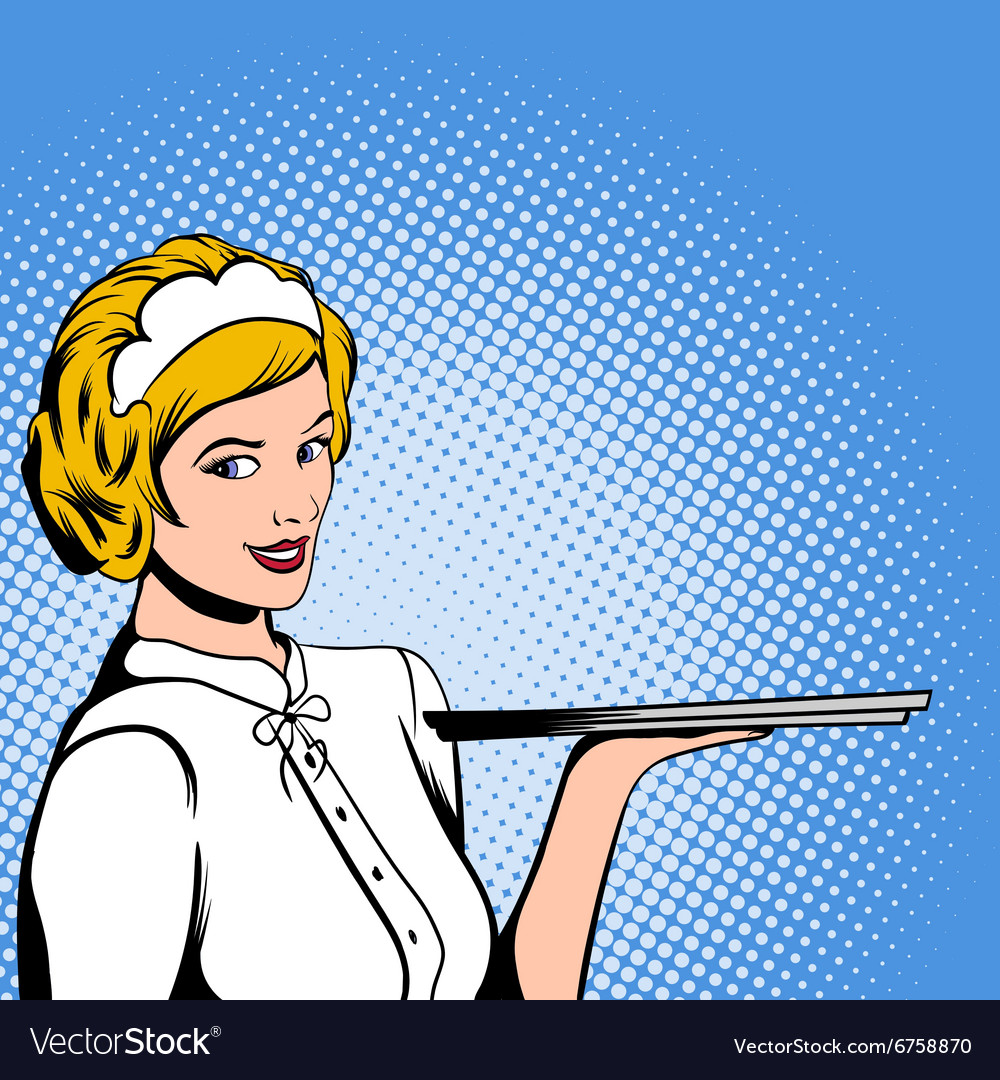 Waitress comics woman vector