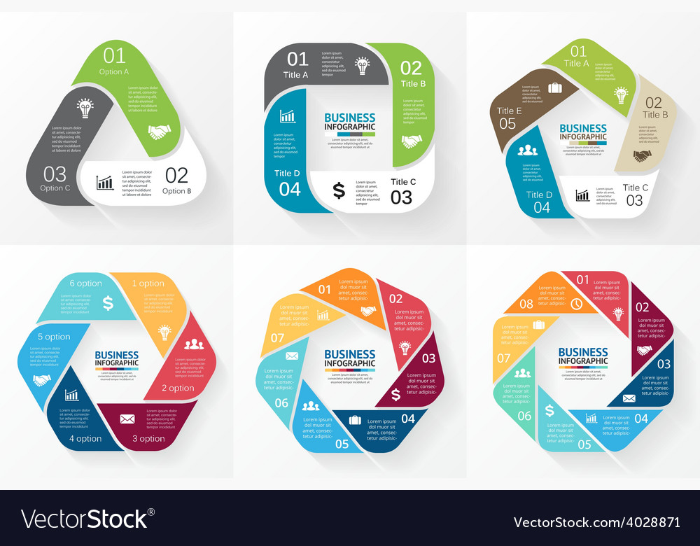 Circle infographics collection template vector
