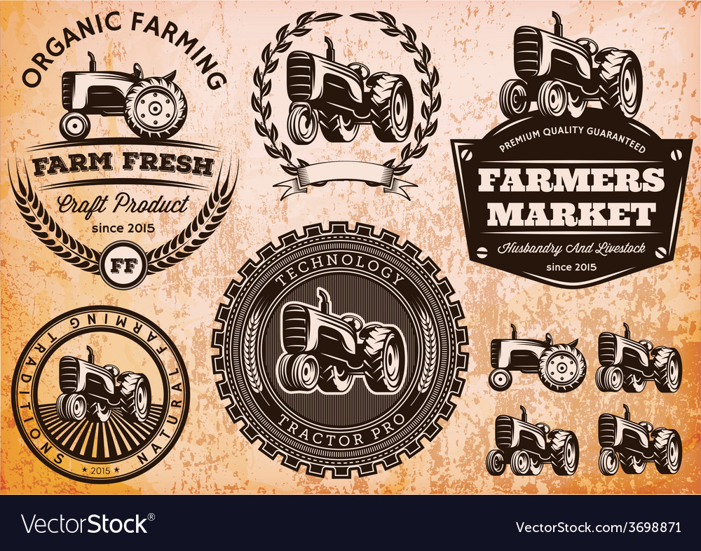 Set of labels with a tractor for livestock and vector