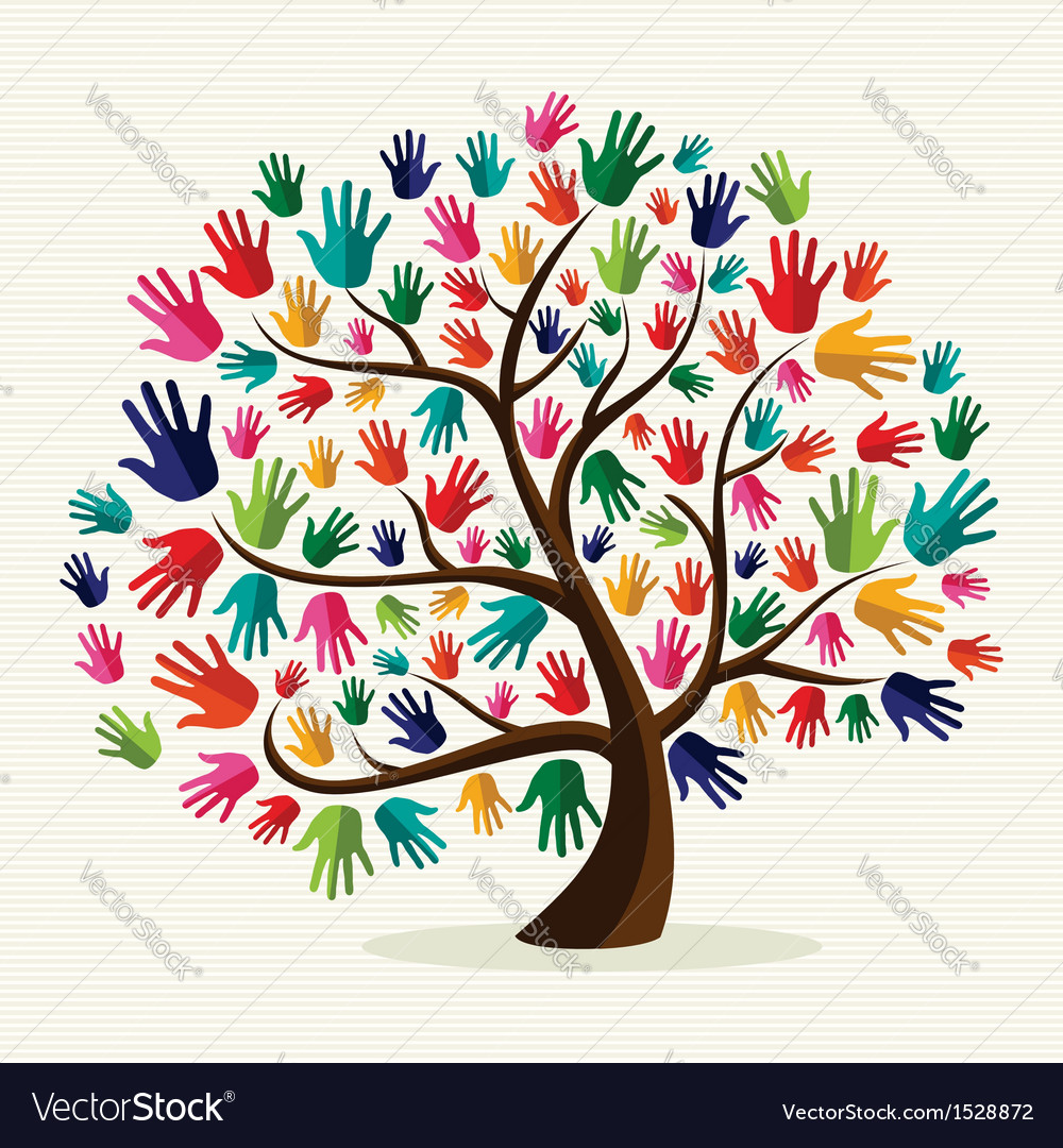 Colorful solidarity hand tree vector
