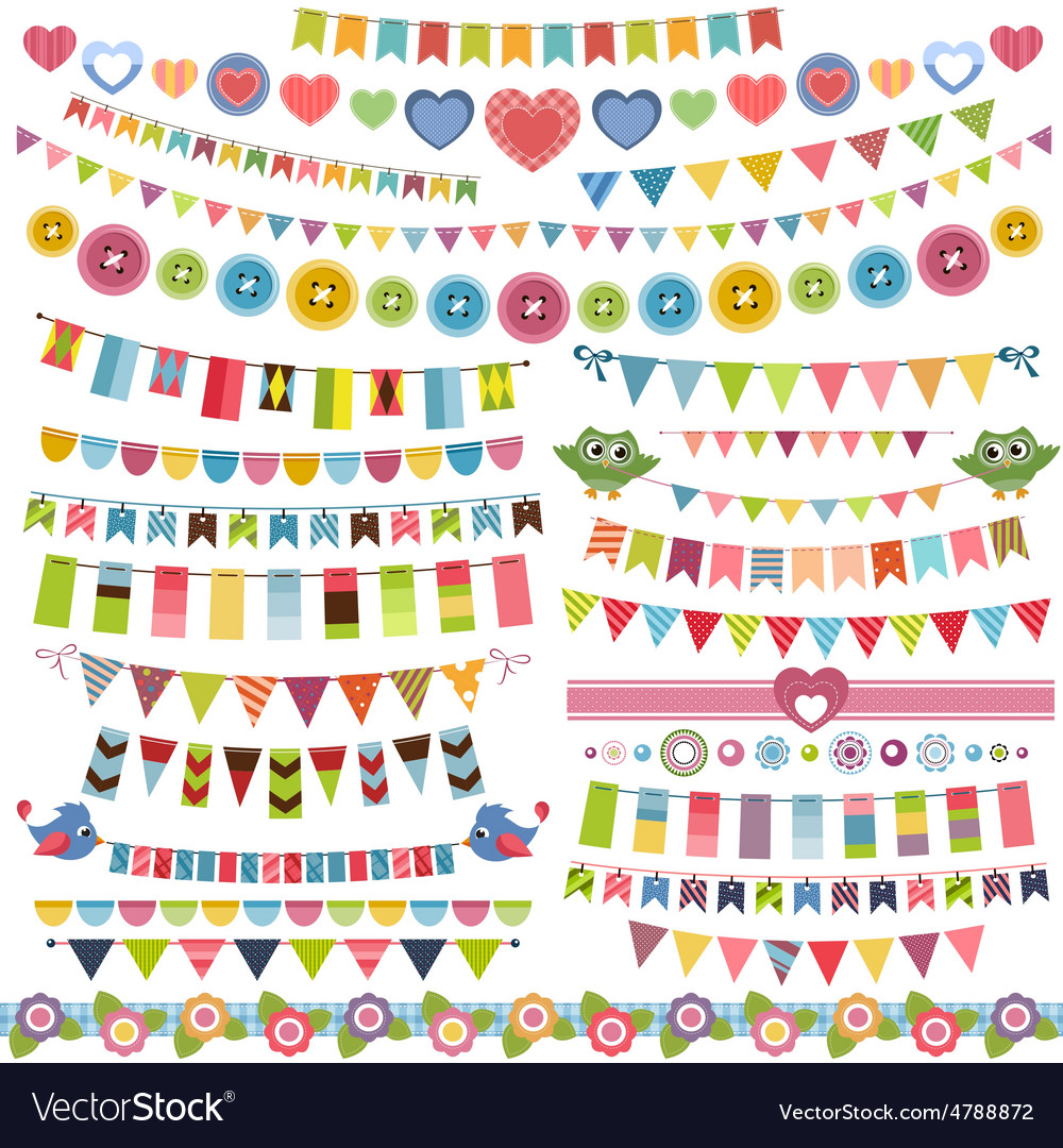 Cute bunting and garland set vector