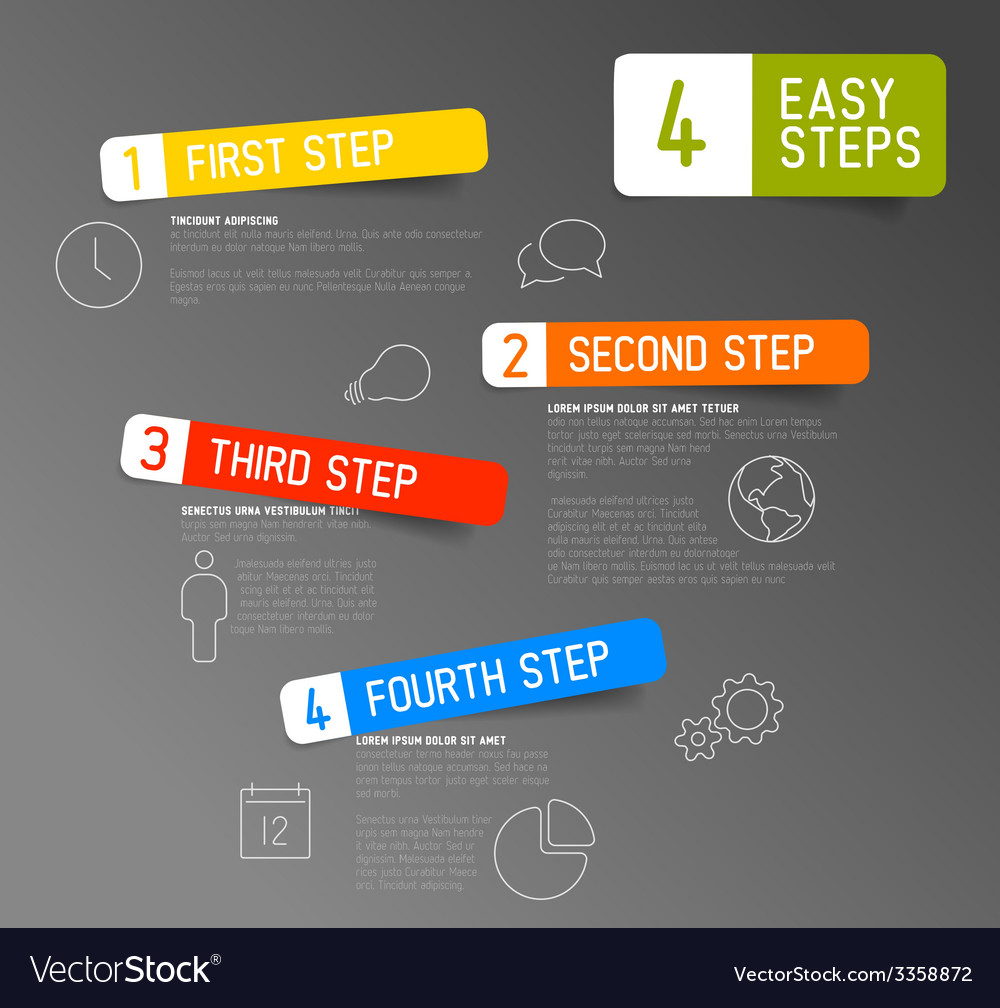 One two three four  4 easy steps template vector