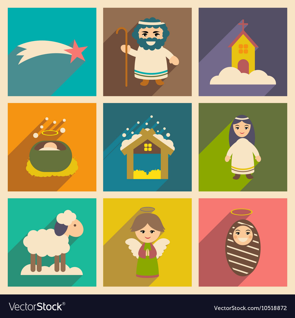 Set flat icons with long shadow christmas vector