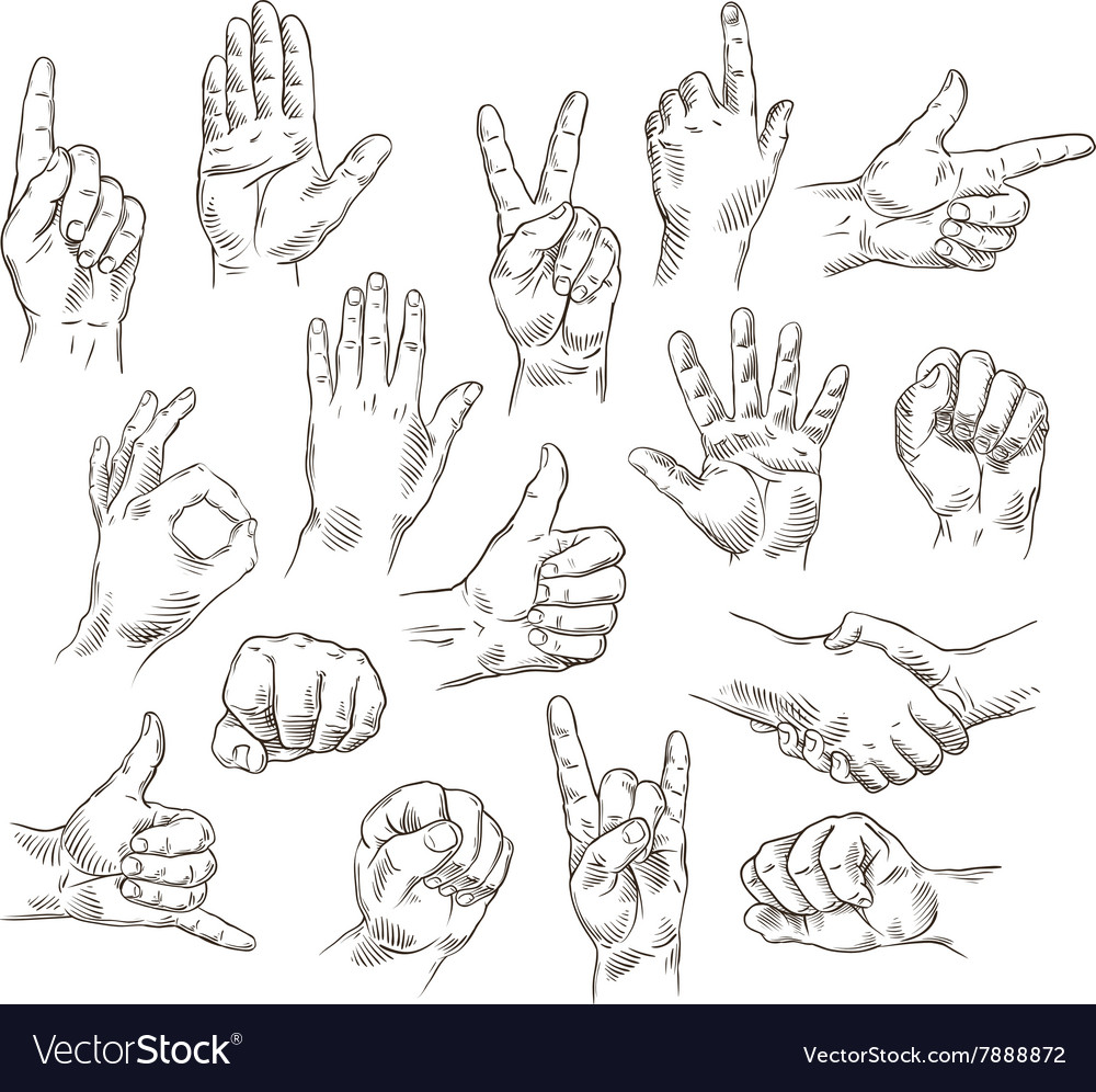 Set of hands and gestures  outline vector