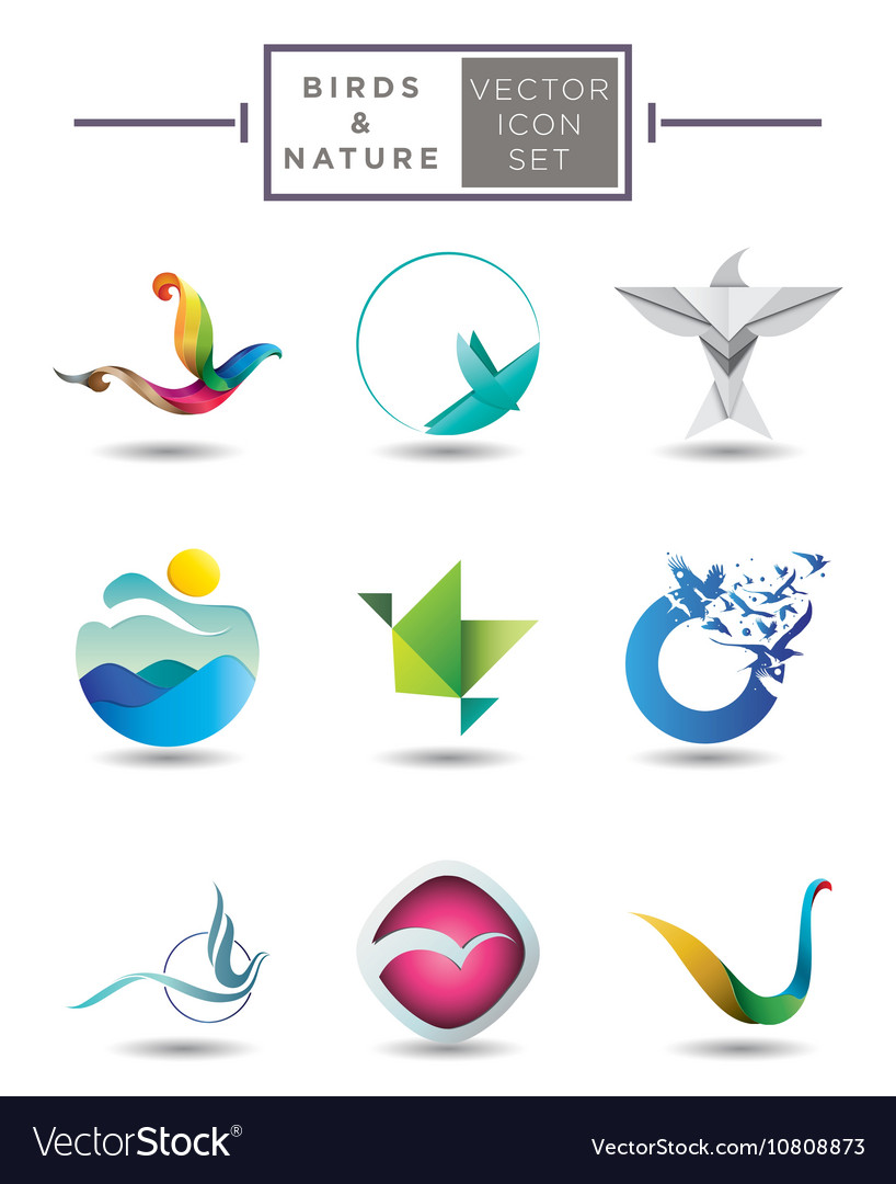 Nature themed emblem collection vector