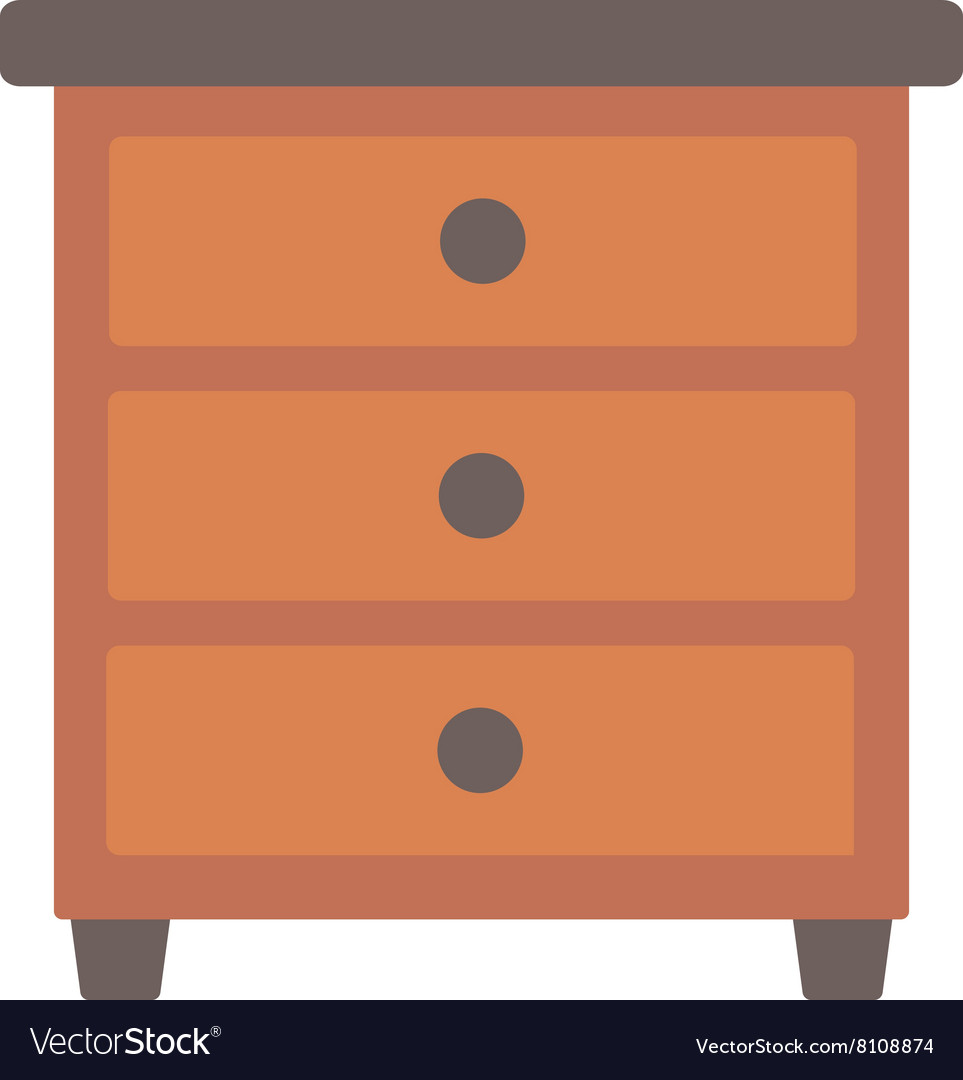 Brown bedside table vector