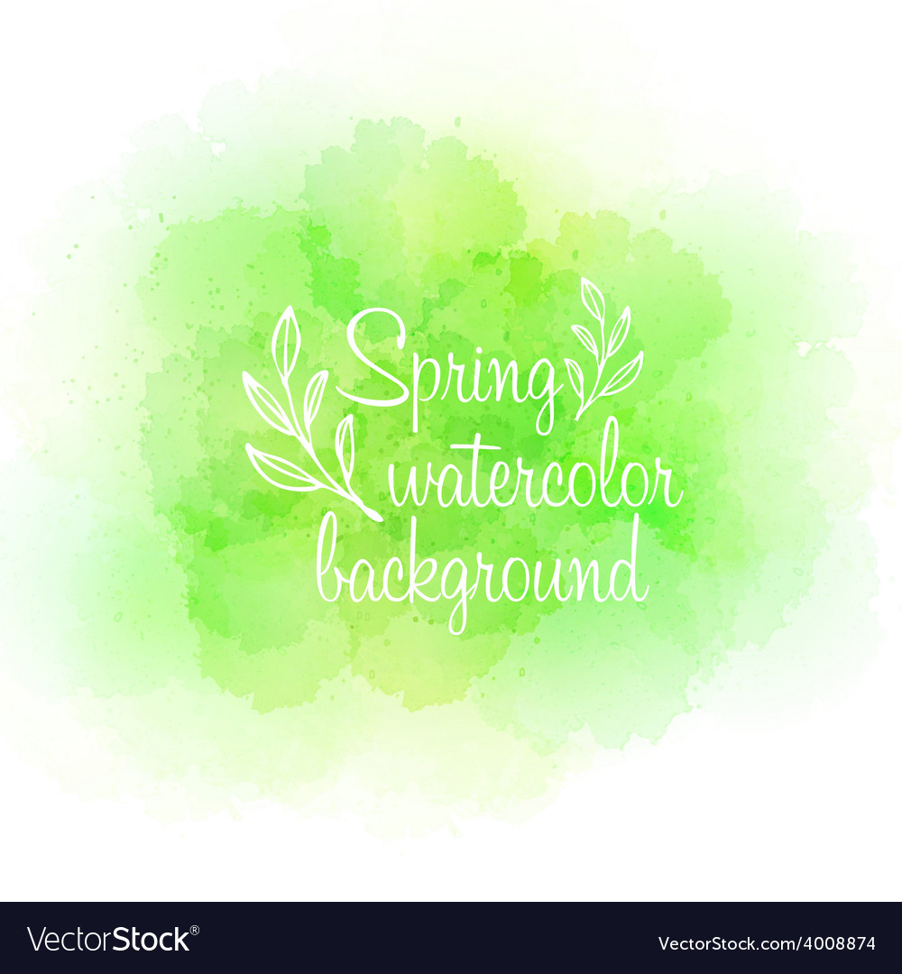 Fresh spring green watercolor background vector