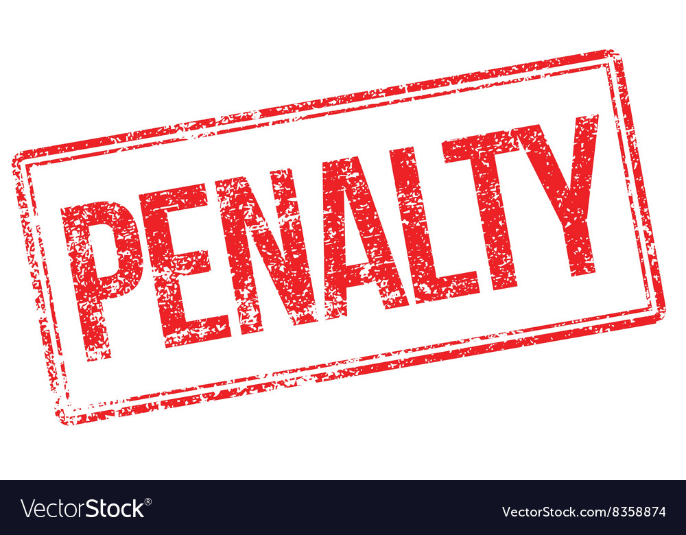 Penalty red rubber stamp on white vector