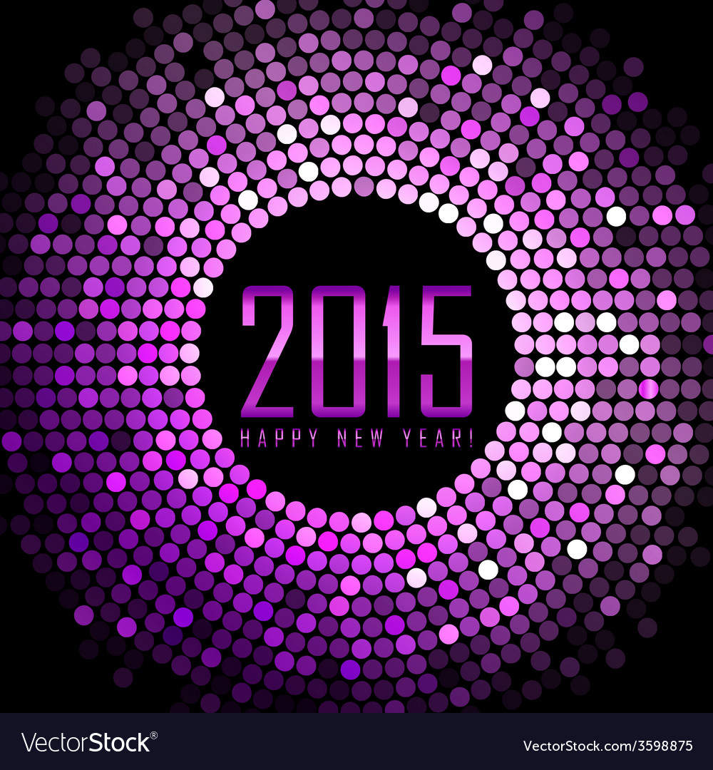 happy new year 2015  purple disco lights frame vector