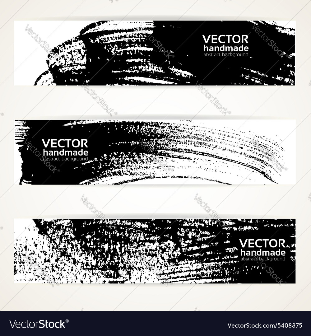 Brush texture handdrawing banner set vector