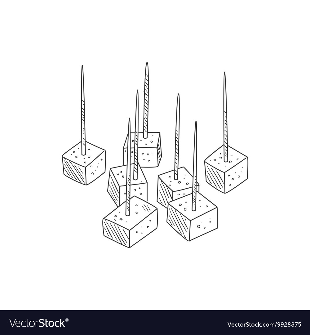 Small pieces of cheese on toothpicks hand drawn vector