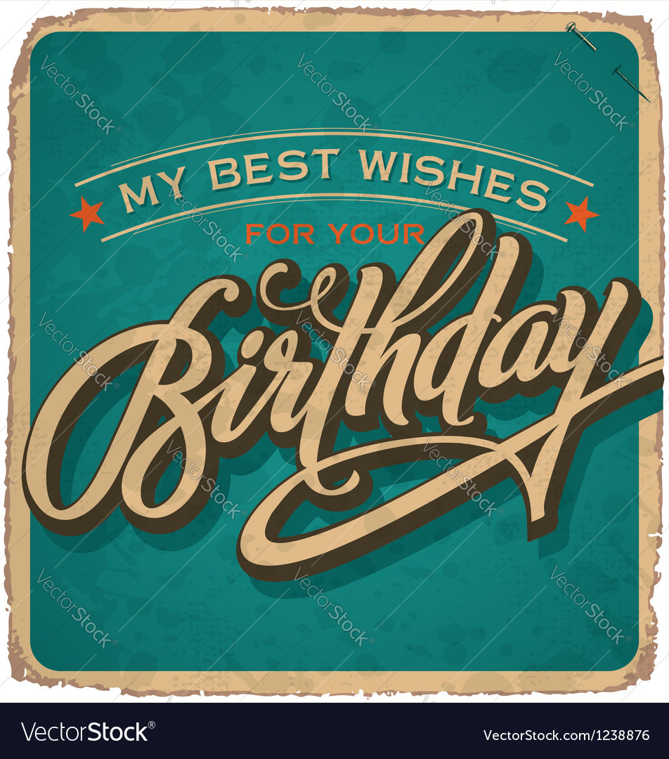 Handlettered vintage birthday card vector
