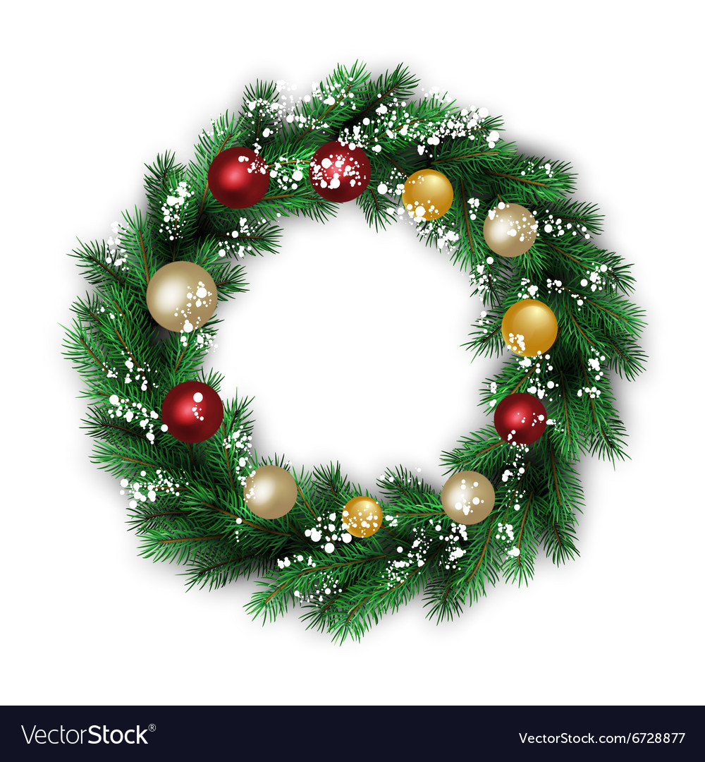 Traditional christmas wreath vector