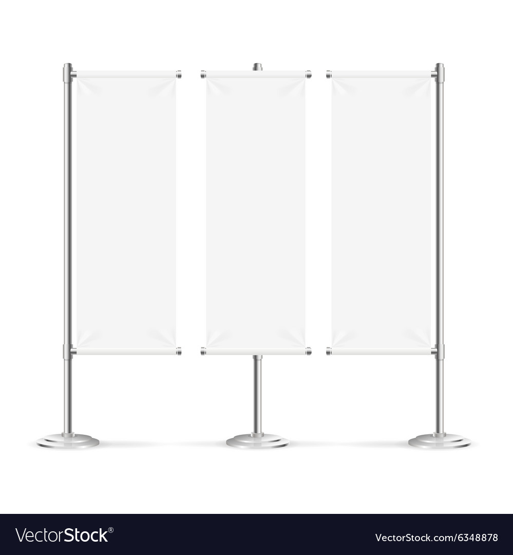 Blank banner flag set vector