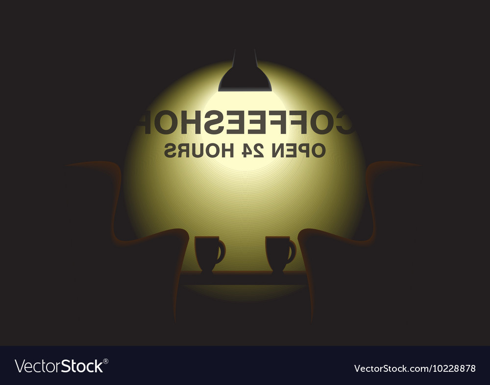 Dark room  coffee shop at night vector