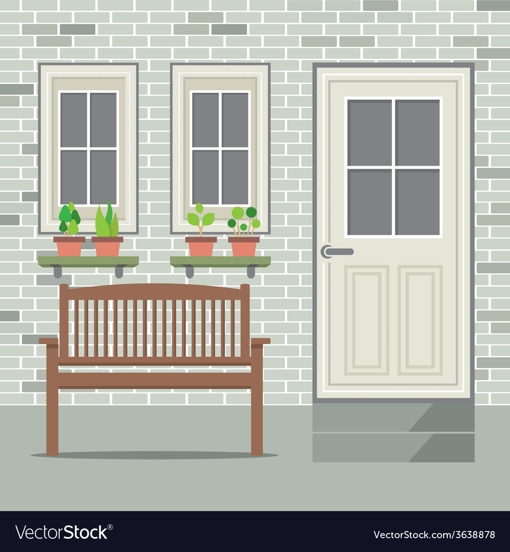 Wooden chair with pot plant and brick background vector