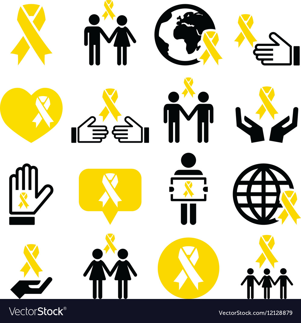 Yellow ribbon icons  suicide prevention support vector