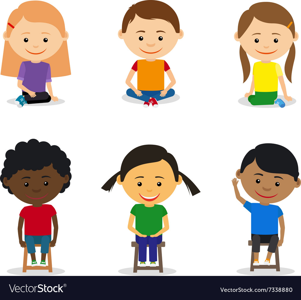 Little kids sitting vector