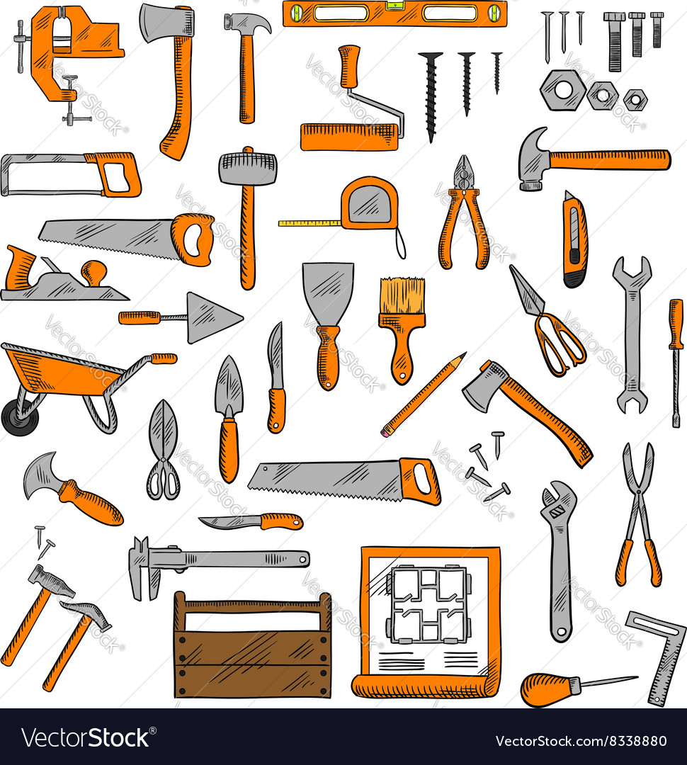 Sketched tools for building carpentry shoemaking vector