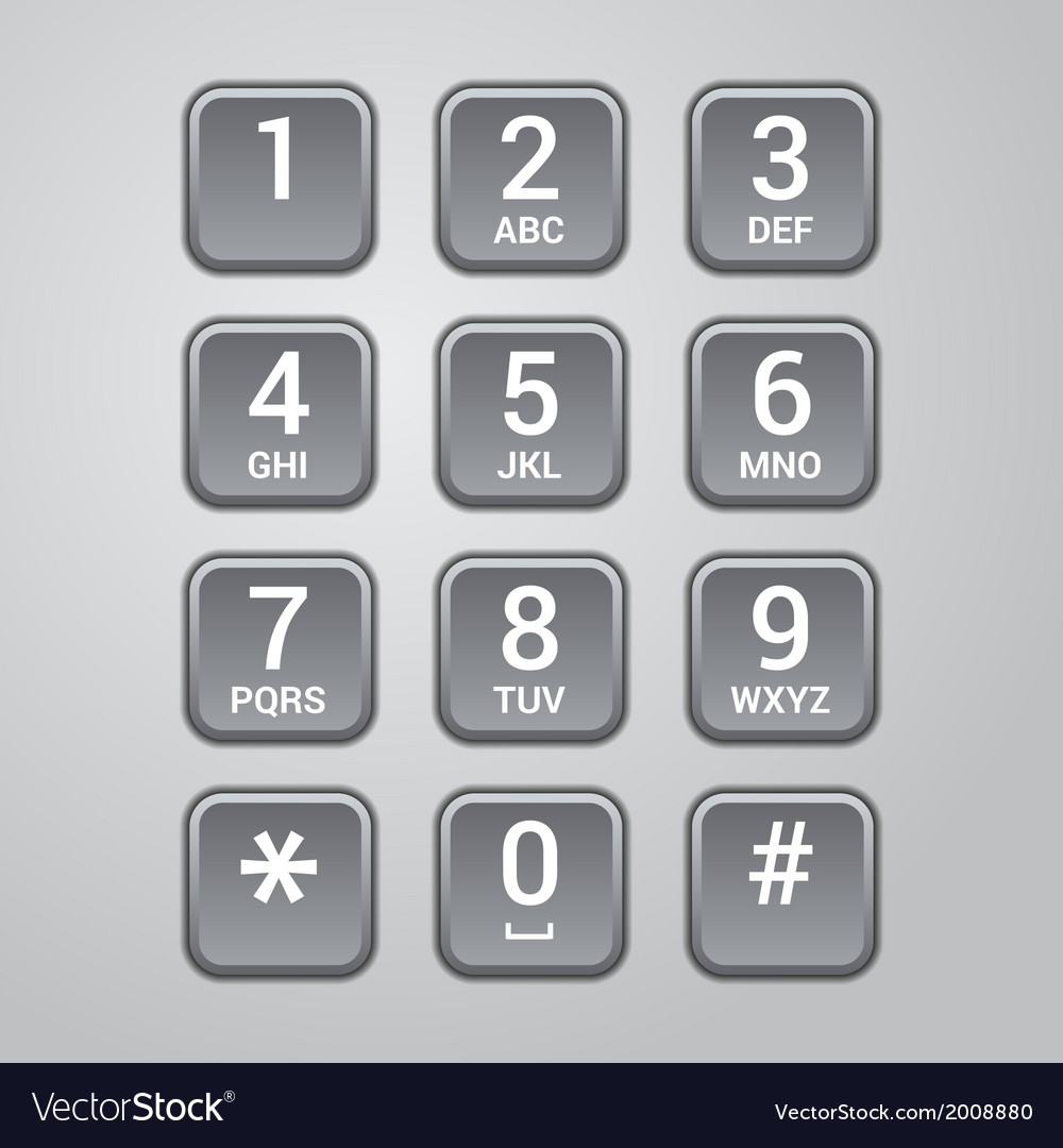 User interface keypad for phone vector