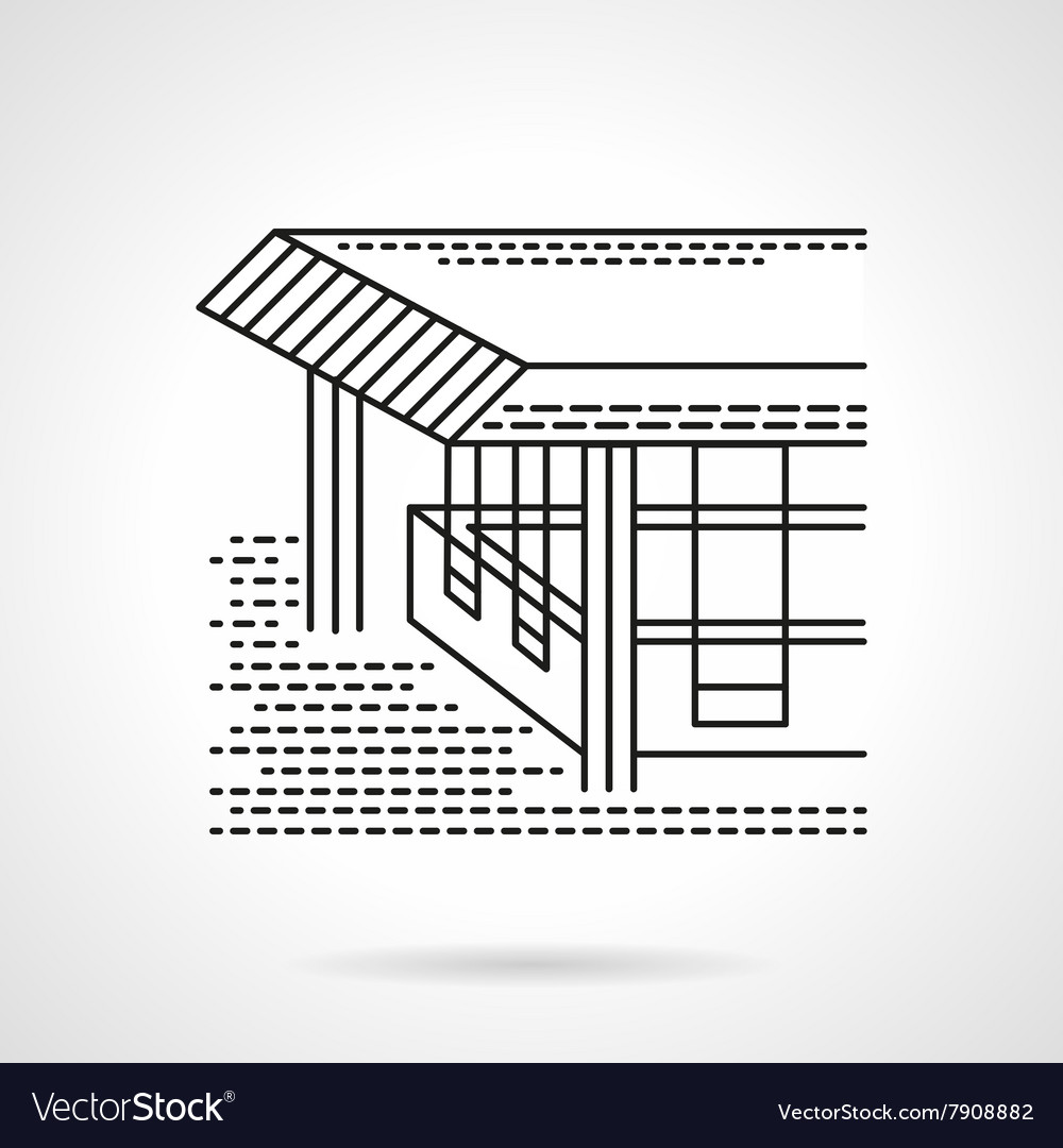 Flat line design coastal terrace icon vector