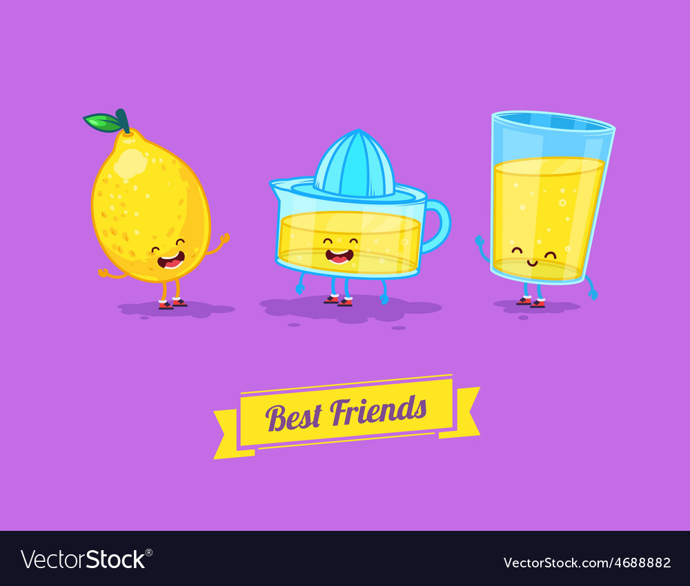 Funny cartoon funny glass lemon and vector