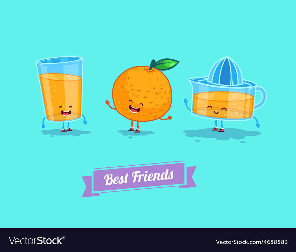 Funny cartoon funny glass orange and vector