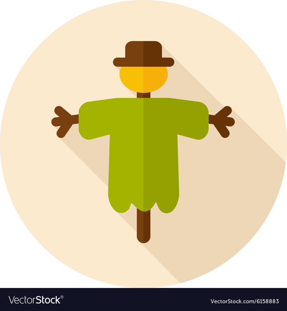 Scarecrow flat icon with long shadow vector