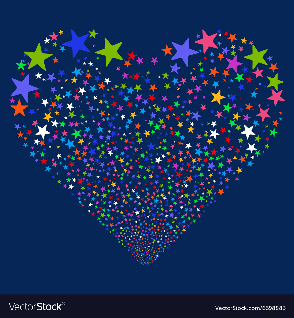Star fireworks heart vector