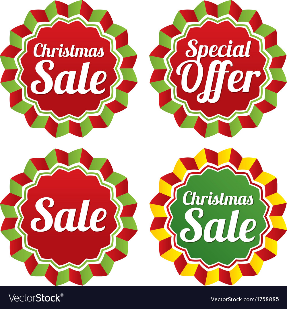Christmas sale special offer labels set vector