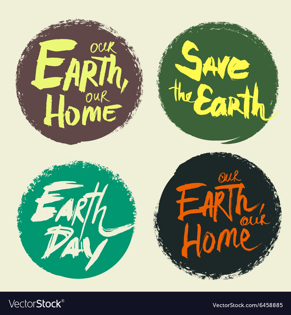 Set lettering earth day vector
