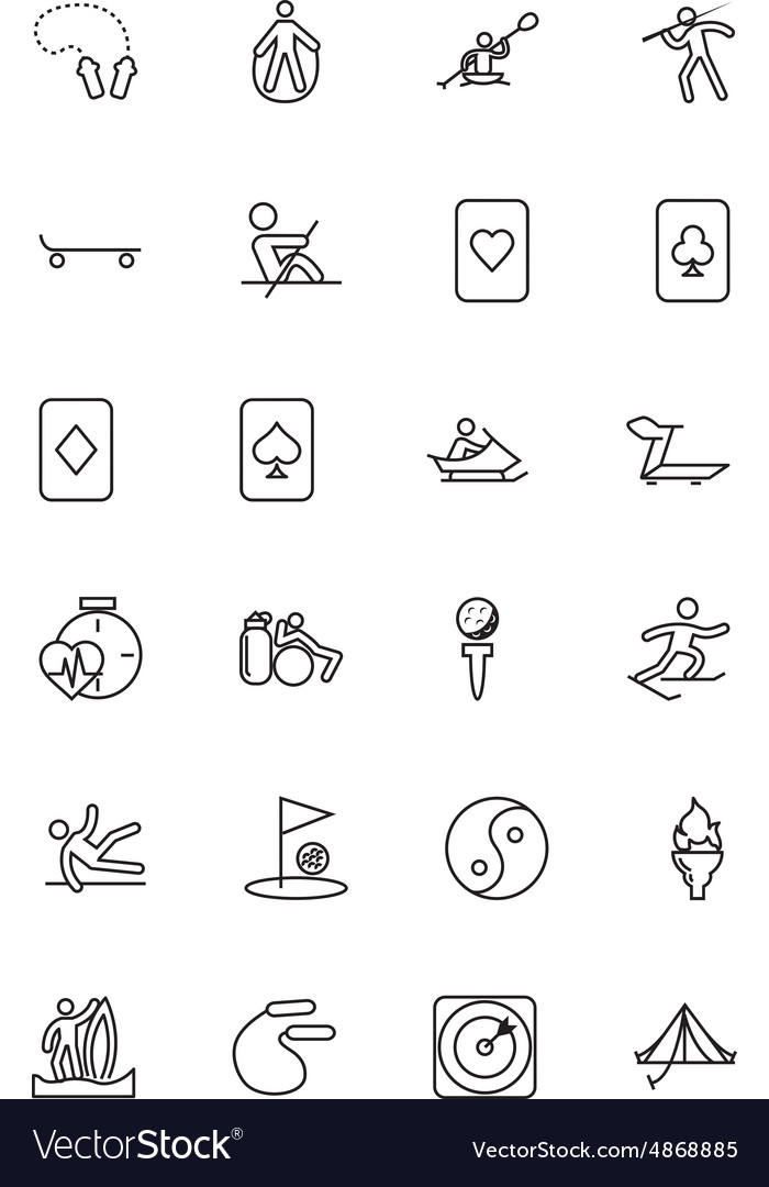 Sports line icons 5 vector
