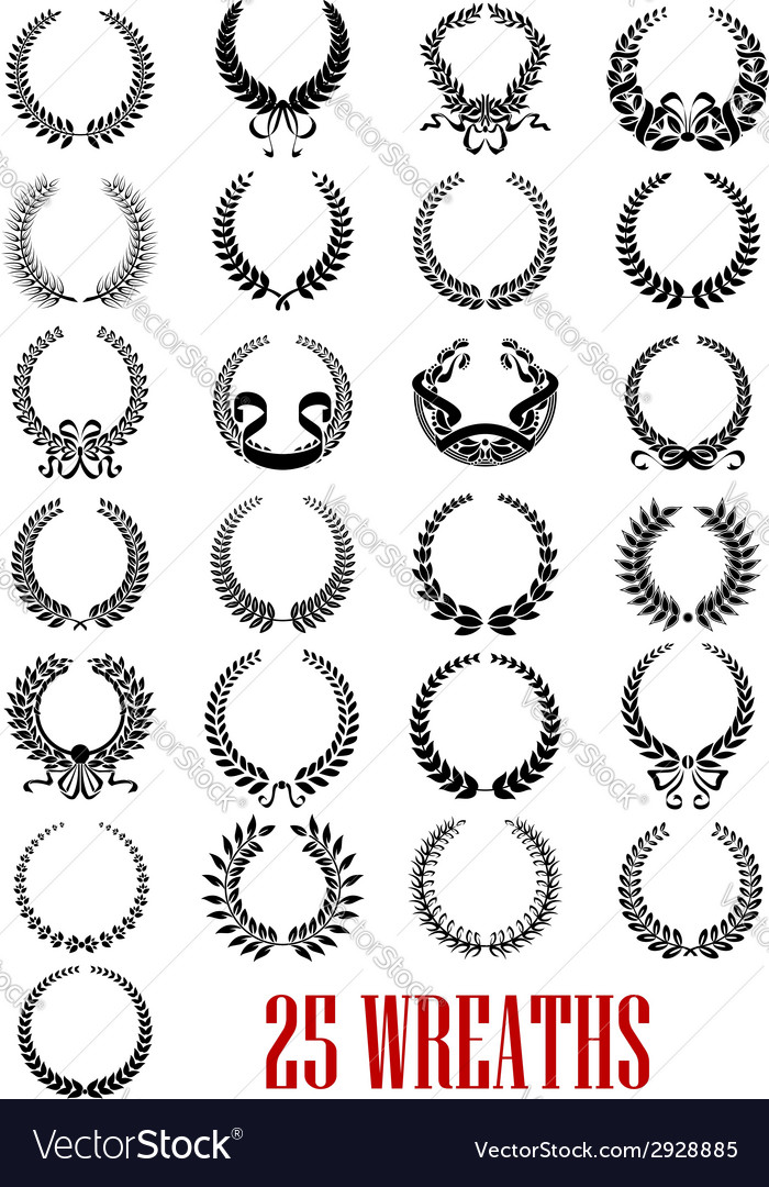 Vintage laurel wreath icons set vector