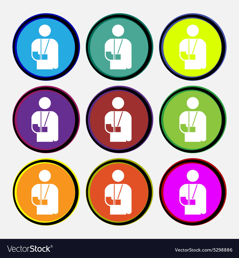 Broken arm disability icon sign nine multi colored vector
