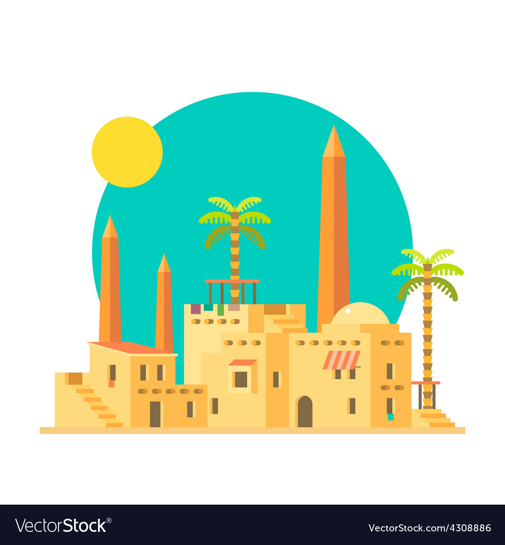 Flat design of mud houses village with obelisk vector