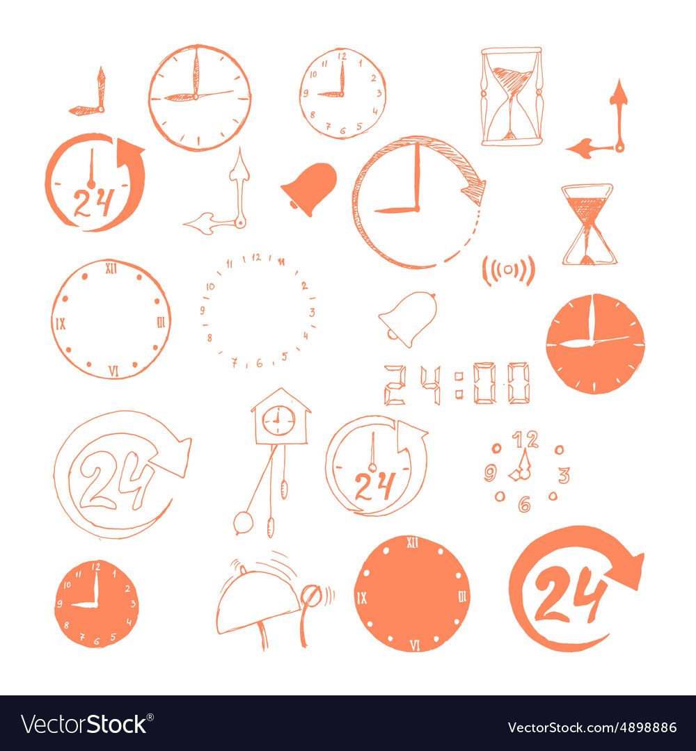 Set of sketch time icons vector