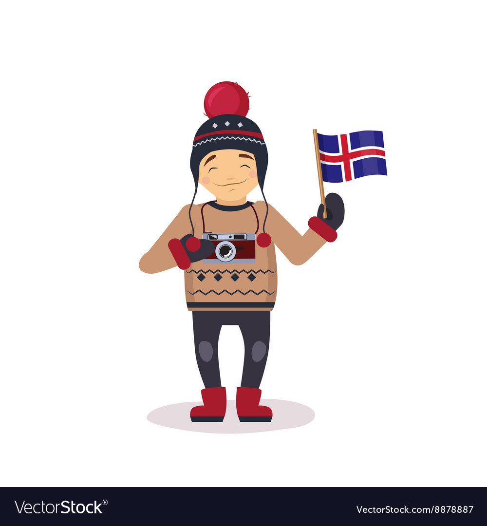 Photographer with the flag of iceland vector