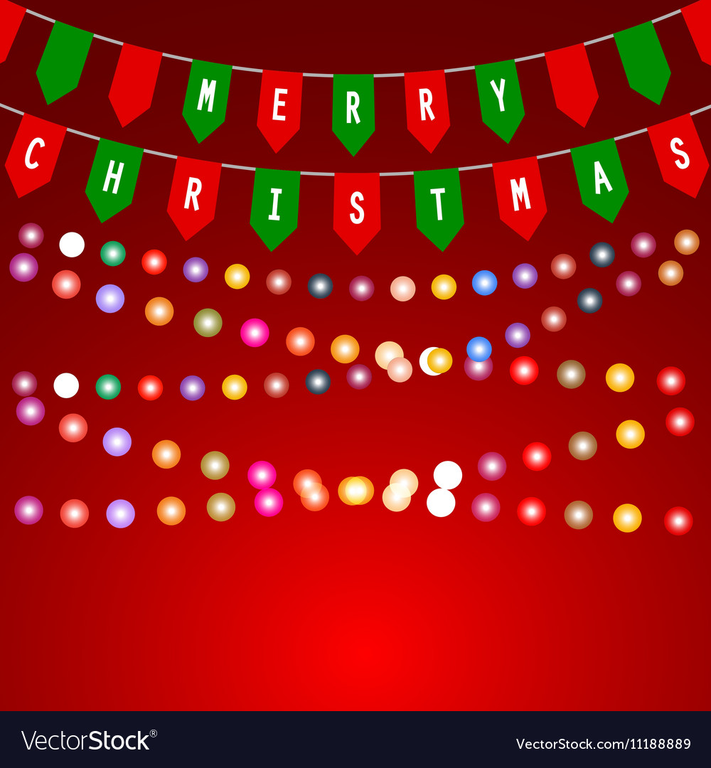 Christmas card with decorations of flags vector