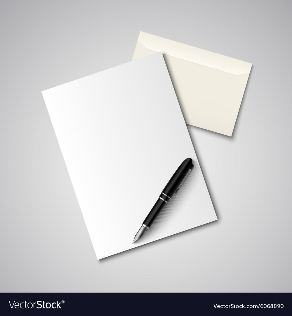 Envelope with paper and pen template vector