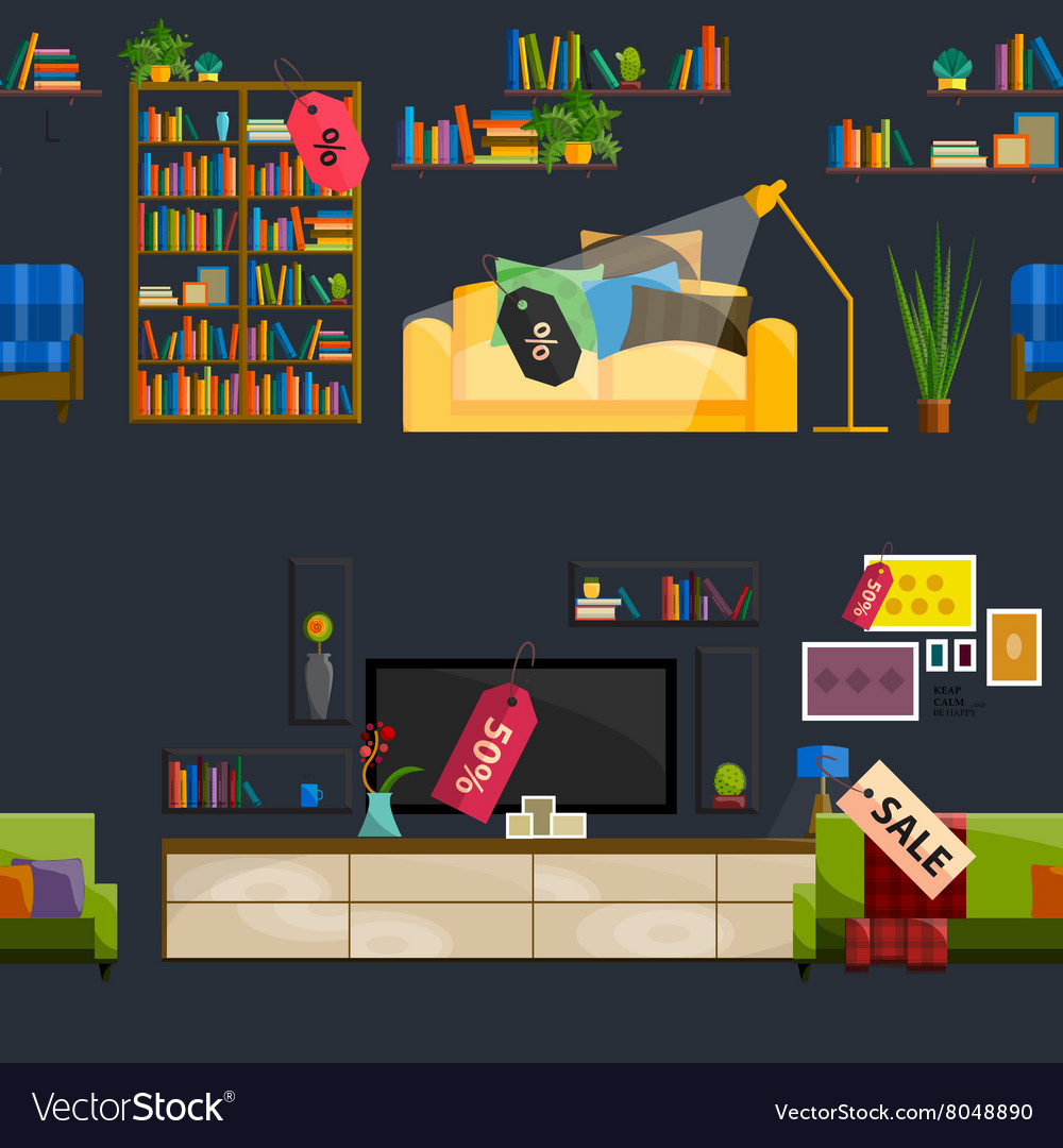 Furniture shop super sale vector