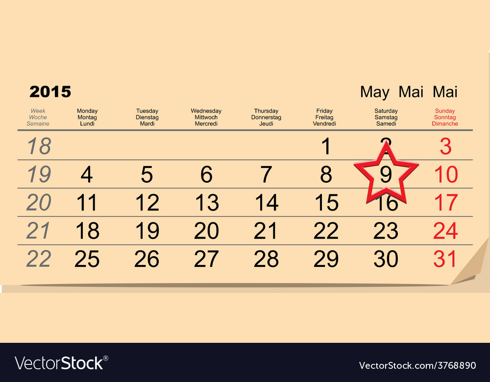 May 9 victory day calendar vector