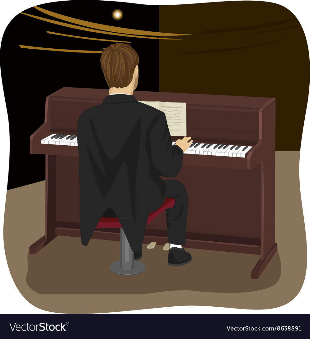 Back view of young man playing brown upright piano vector
