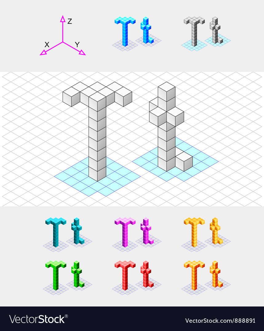 Isometric font from the cubes letter t vector