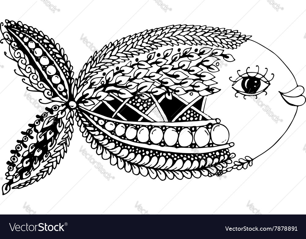 Ornate fish zentangle style for your design vector