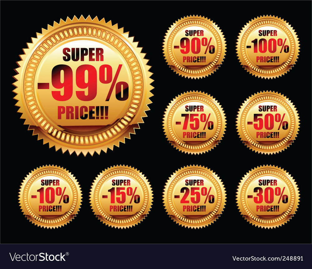 Set of golden sale tags vector